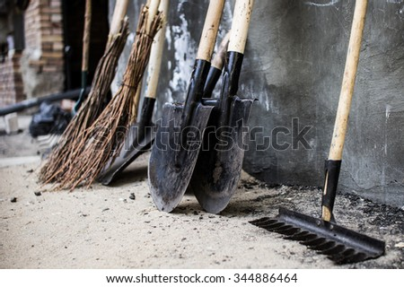 Shovels, rake and brooms after work