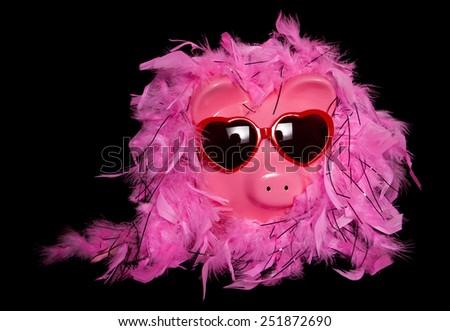 show girl diva piggy bank cutout - stock photo