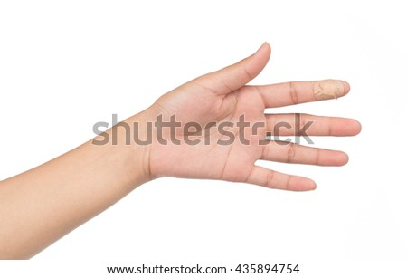 show hand adhesive bandages on injury finger on white background