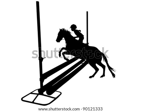 Show jumper with child on pony silhouetted on white.
