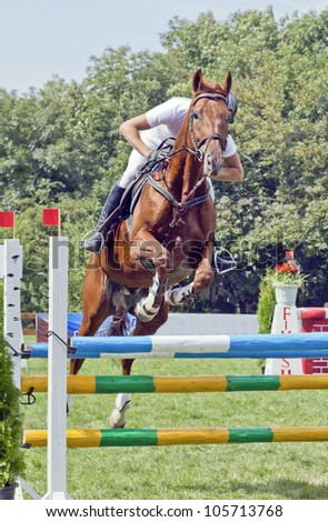 Show Jumping - a girl on a horse jumping over the barrier. - stock photo