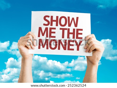 Show Me The Money card with sky background - stock photo