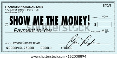 Show Me the Money Check Earnings Payday - stock photo