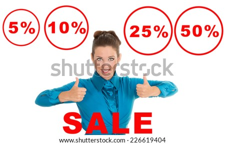 Show that it is very good value for money. Discounts, promotions, sale, warranty - concept for advertising seasonal discounts. Business woman lifts thumbs up. success, profit, guarantee - concept.