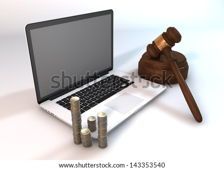 Show that the auction business through technology (laptop) to a good direction. - stock photo