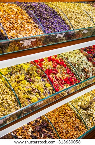 Show-window with various fruit and herbal tea, the Grand Bazaar, Istanbul - stock photo