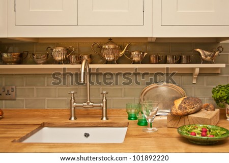 Showcase of a kitchen interior on exhibition ideal home show, 2011 - stock photo