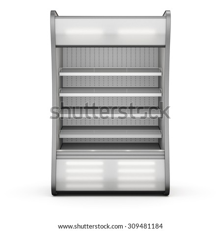 Showcase refrigeration Illuminated front view isolated on white background. 3d.