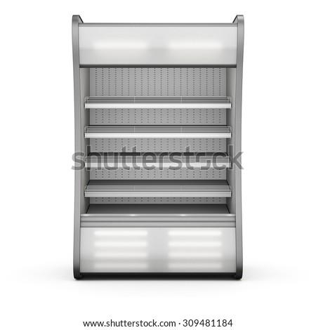 Showcase refrigeration Illuminated front view isolated on white background. 3d. - stock photo