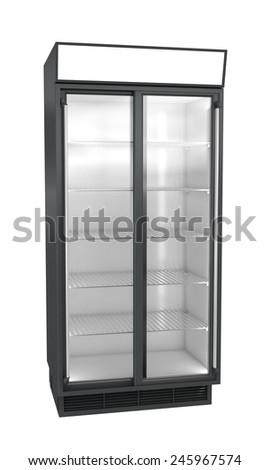Showcase refrigerator isolated on white - stock photo