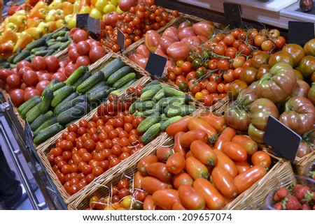 showcase vegetables in a supermarket - stock photo