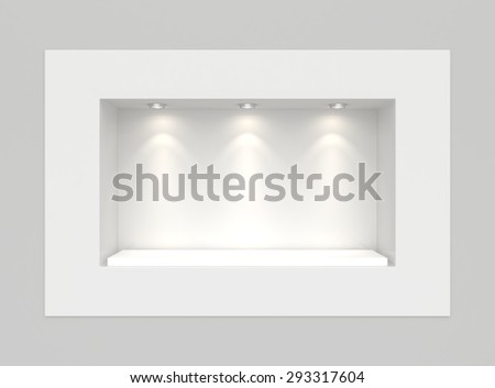 Showcase with lights and podiums for samples product. - stock photo