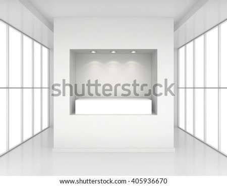 Showcase with lights and podiums for samples product in blank interior room large windows. 3d rendering - stock photo