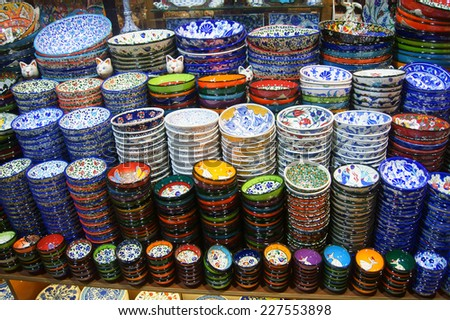 Showcase with souvenirs at the Grand Bazaar in Istanbul