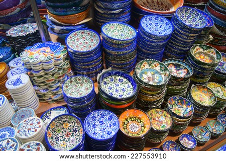 Showcase with souvenirs at the Grand Bazaar in Istanbul   - stock photo