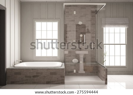 Shower and bathtub in bright bathroom with two windows (3D Rendering) - stock photo