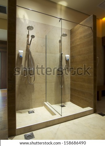 Shower Cabins Wellness Center Stock Photo (Royalty Free) 158686490 ...