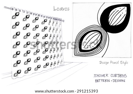 Shower curtains leaves one color pencil sketch freehand is black color design art work for screen print idea of your decorate product and production for sale whole sale and retail