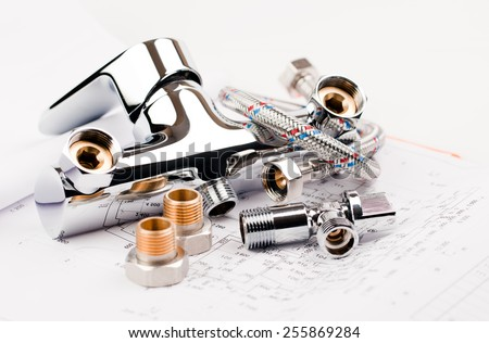 shower faucet, plumbing and draft for repair - stock photo