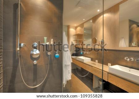 shower in a beautiful bathroom in Kaufmann hotel, Bavaria - stock photo