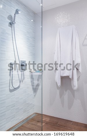shower in toilet - stock photo