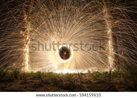 Shower of sparks from steel wool