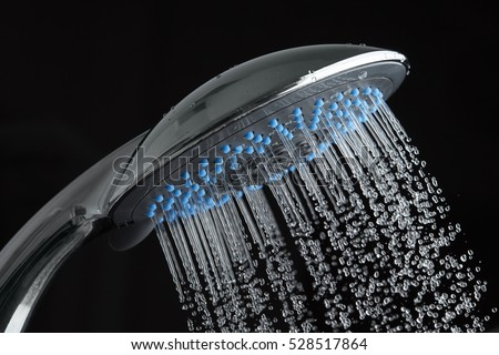 Shower on black background