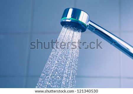shower with water stream - stock photo