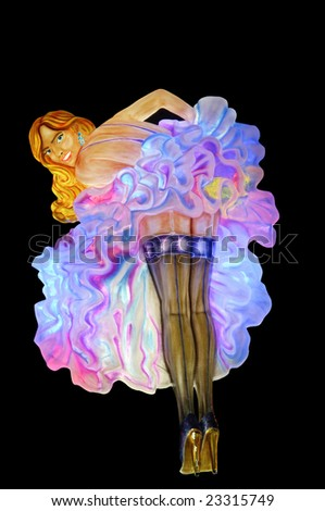 Showgirl theme - neon lights in casino - stock photo