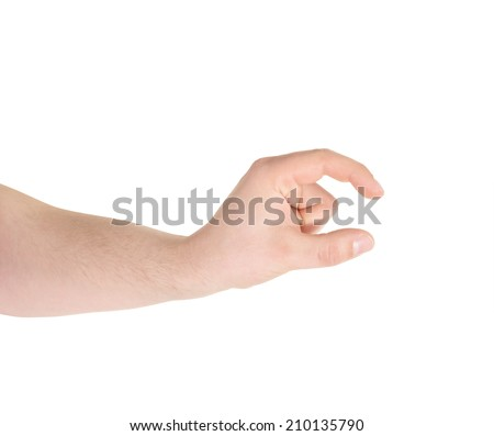 Showing a tiny size sign as caucasian hand gesture isolated over white background - stock photo