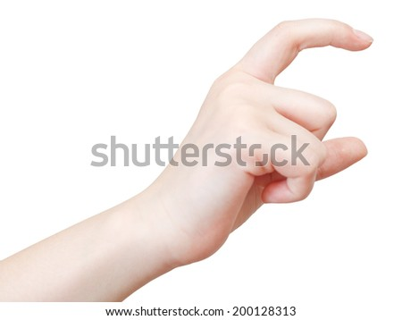 showing average size - hand gesture isolated on white background