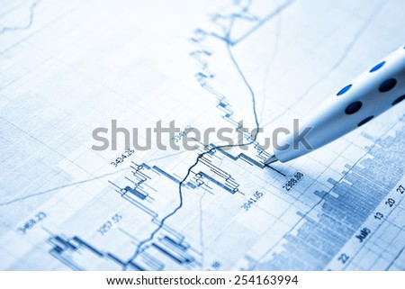 Showing business and financial report. Exchange