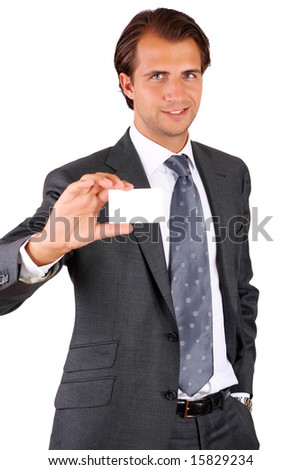 Showing business card - stock photo