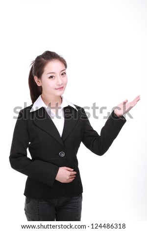 Showing business woman isolated on white - stock photo