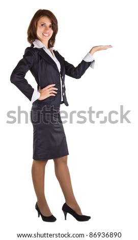 Showing businesswoman, isolated on white background