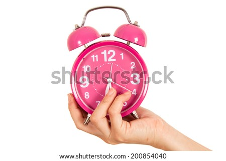 Showing Clock in hand - stock photo