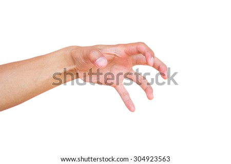 Showing hands isolated on white.