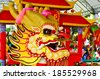 Showing manipulation golden dragon.  - stock photo