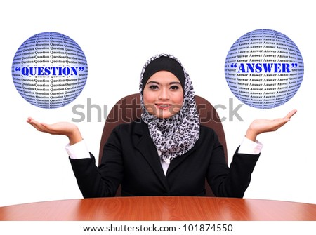 Showing muslim business woman with open hand palms for question and answer . muslim Businesswoman in black suit isolated on white background. - stock photo