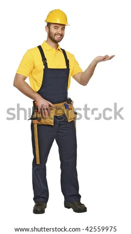 showing pose for handyman isolated on white background suitable for composition - stock photo
