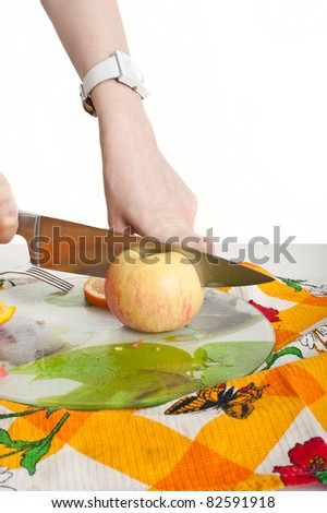 Showing sliced ??fruit closeup,isolated over white