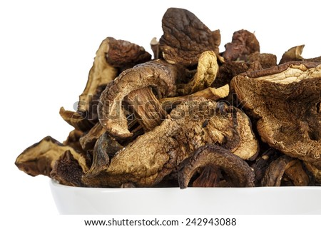 Shown up close serving of wild and dried mushrooms - stock photo