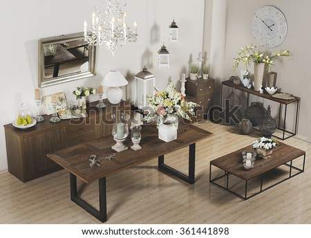 showroom with furniture and homeware - stock photo