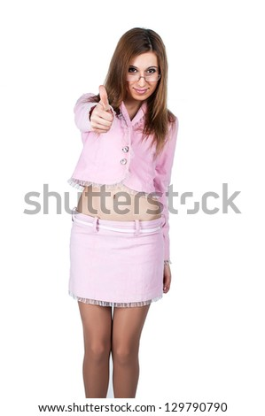 shows a hand gesture class, pink suit, the business kind of business lady. - stock photo