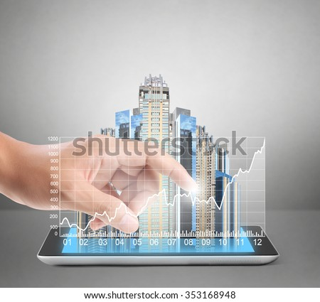 shows tablet modern technology as concept