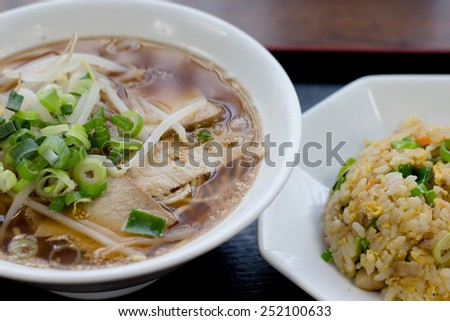 Shoyu ramen (Japanese noodle soup dish) with fried rice (Chahan)