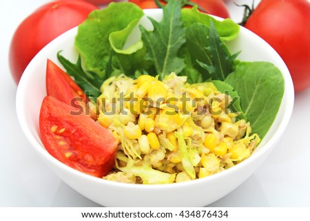 Shredded Cabbage and corn Cole Slaw - stock photo