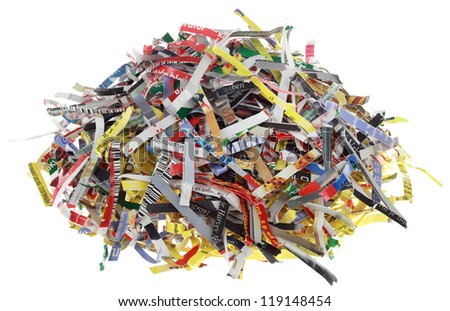 Shredded Paper Strip Slices Isolated on White Background - stock photo