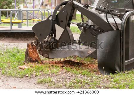 shredder for sawn wood - stock photo