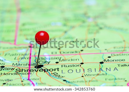 Shreveport pinned on a map of USA  - stock photo